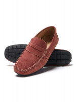 Sparks Coral Suede Moccasin With Rubber Sole