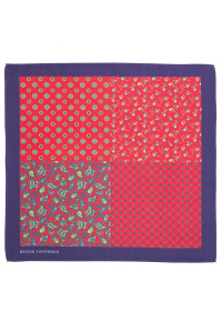 Red Pattern 100% Silk Pocket Square