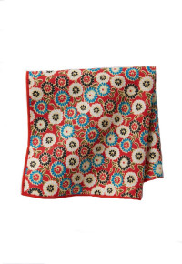 Red Floral 100% Silk Pocket Square