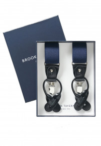 Plain Navy Leather Braces