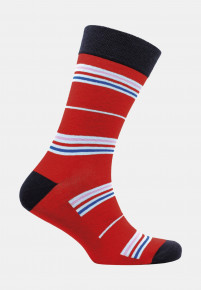 Coverack Red with Royal Sky and Pink Fine Stripe Sock