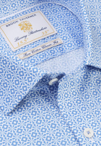 White with Mid Blue Diamond and Petal Design Classic and Tailored Fit Business Casual Shirt