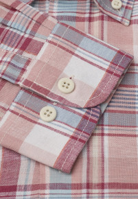 Long Sleeve Blue, Rose, Corn and Mint Check Button Down Collar Shirt