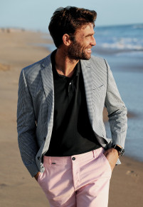 Carroll Blue Check Tailored Fit Jacket