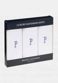 Handkerchief Monogrammed with Initial 'P' - Presentation Pack of Three