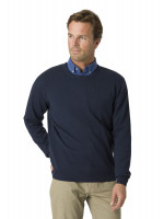 Aylsham Navy Luxury Cotton Merino Crew Neck Sweater