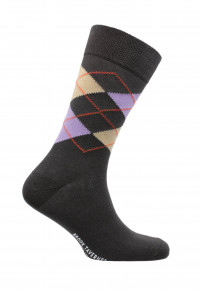 Falmouth Charcoal with Lilac and Lemon Diamond Design Sock