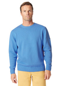 Earby Blue Plain Knit Cotton Crew Neck Jumper
